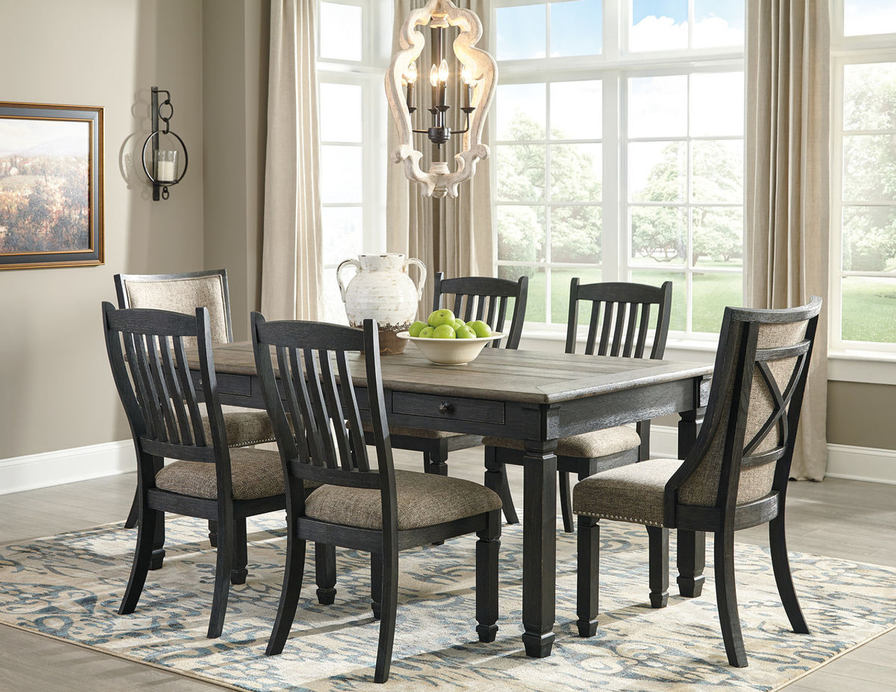 Dining Room Upholstered Chairs Ashley Tyler Creek Black Gray 7 Pc Rectangular Dining Room Table 4 Upholstered Side Chairs 2 Dining Room Upholstered Side Chairs