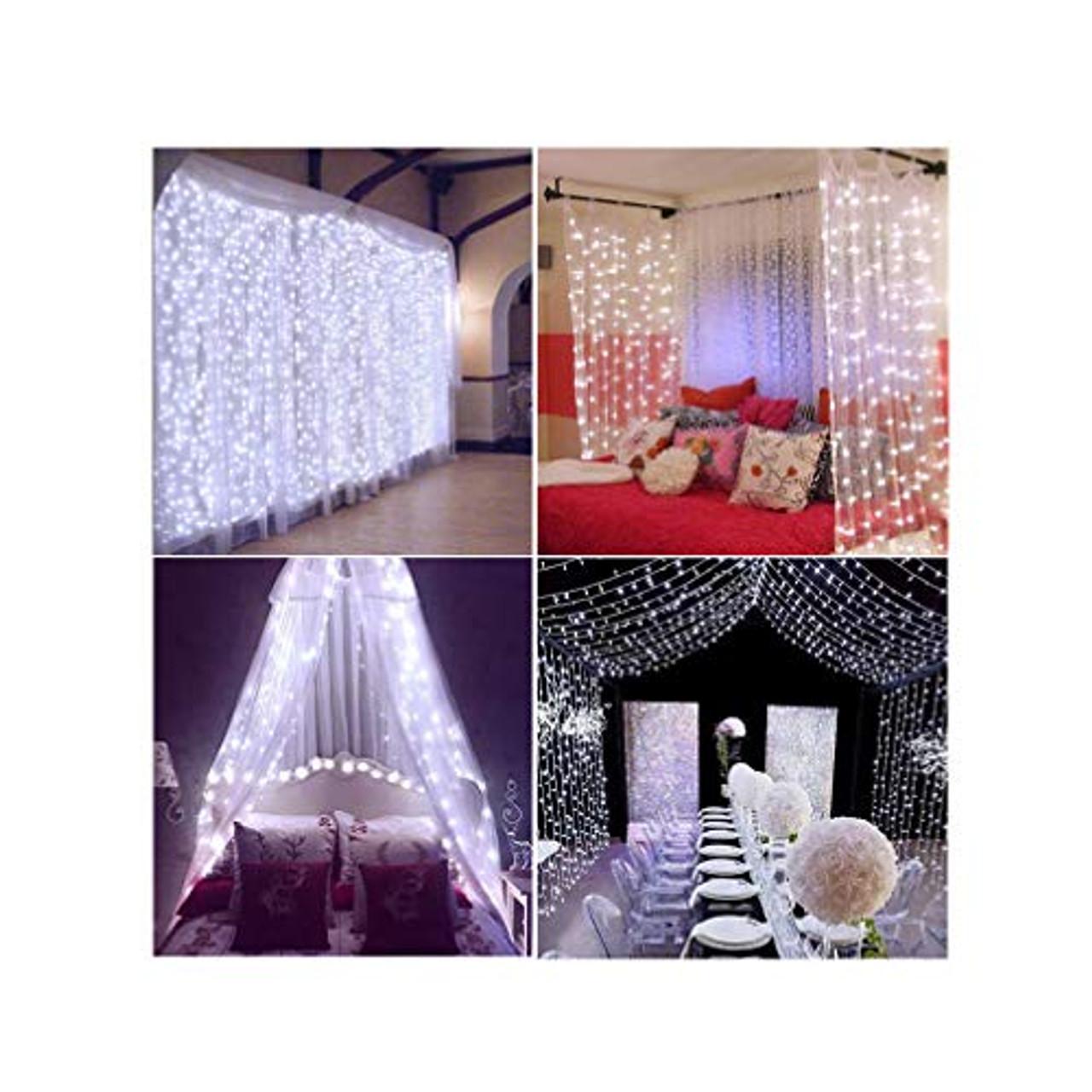 decute curtain lights 9 8 x 9 8ft 306 led ul listed christmas decoration fairy light for wedding bedroom bed canopy garden patio outdoor indoor