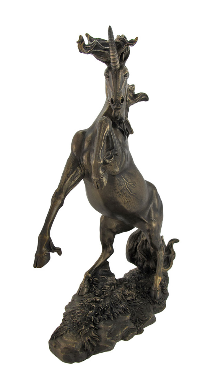bronzed rearing unicorn statue