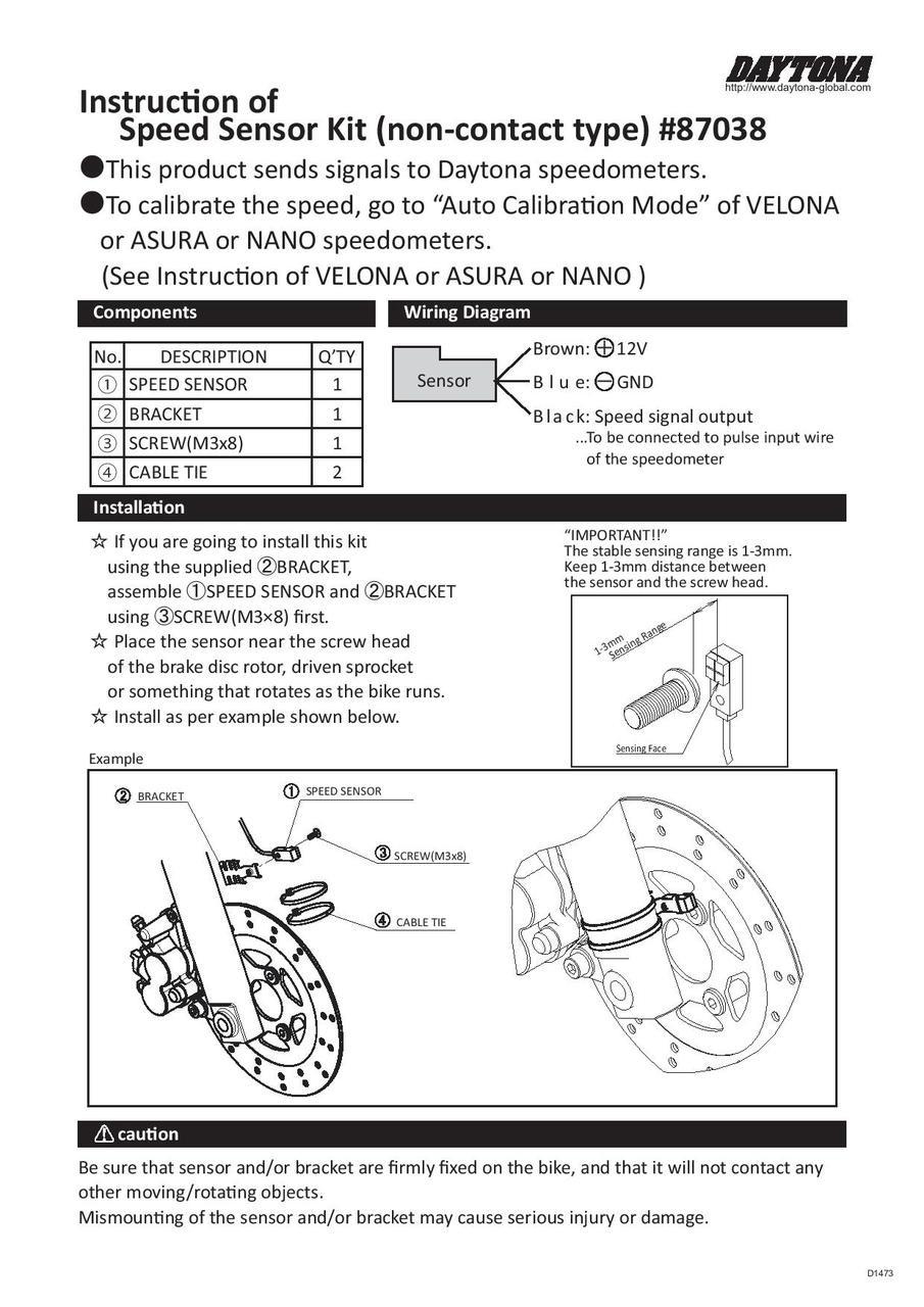 medium resolution of daytona speed sensor and bracket kit proximity type