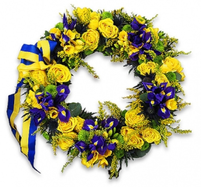 blue and yellow funeral