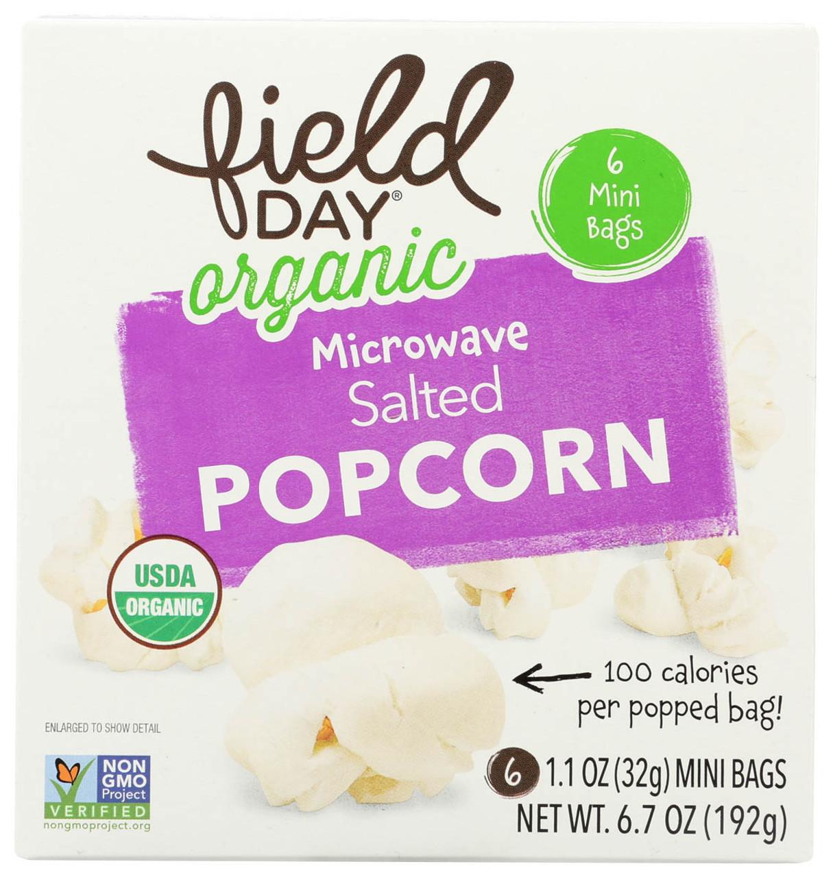 field day organic microwave popcorn salt free 100 calories