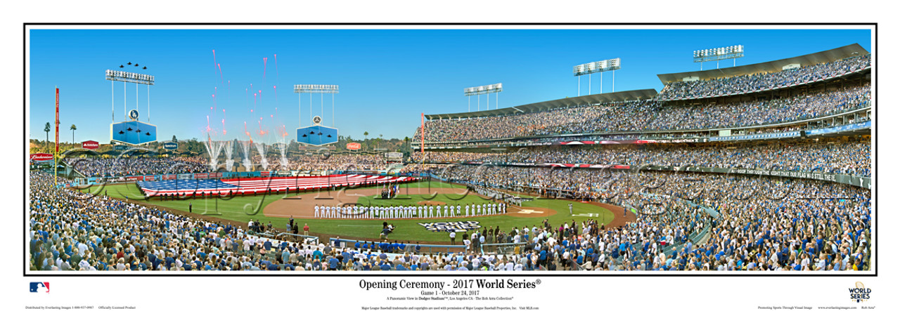 2017 world series los angeles dodgers at dodger stadium panoramic framed poster