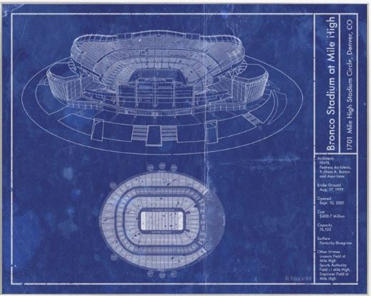 bronco stadium at mile high denver broncos blueprint poster