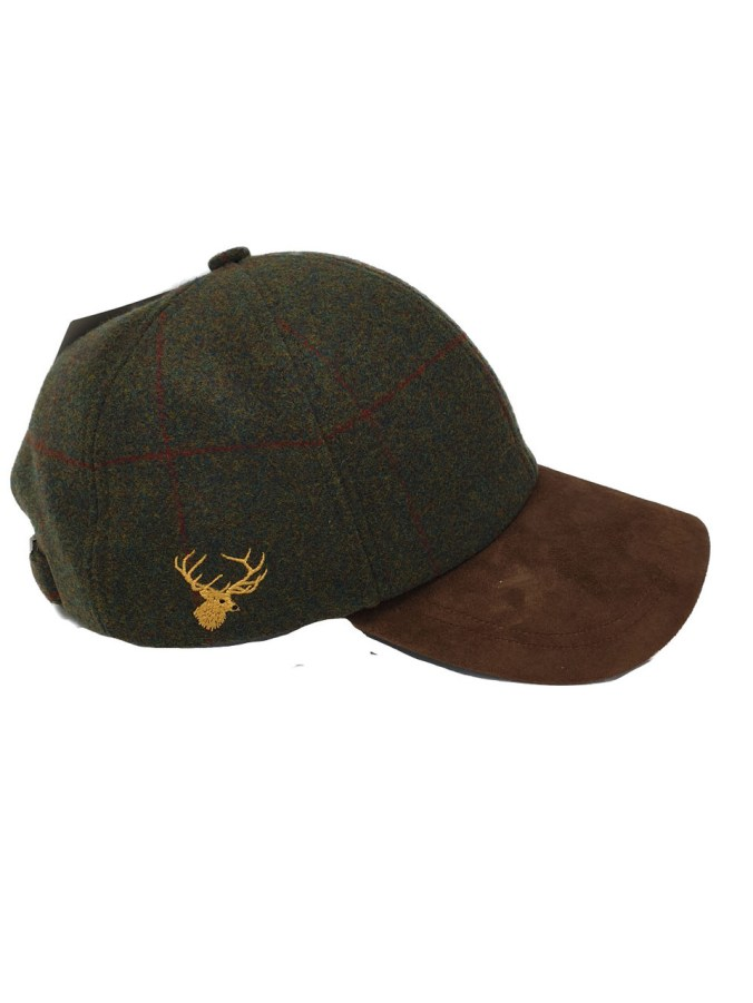 stag's head tweed baseball cap shooting gift for men
