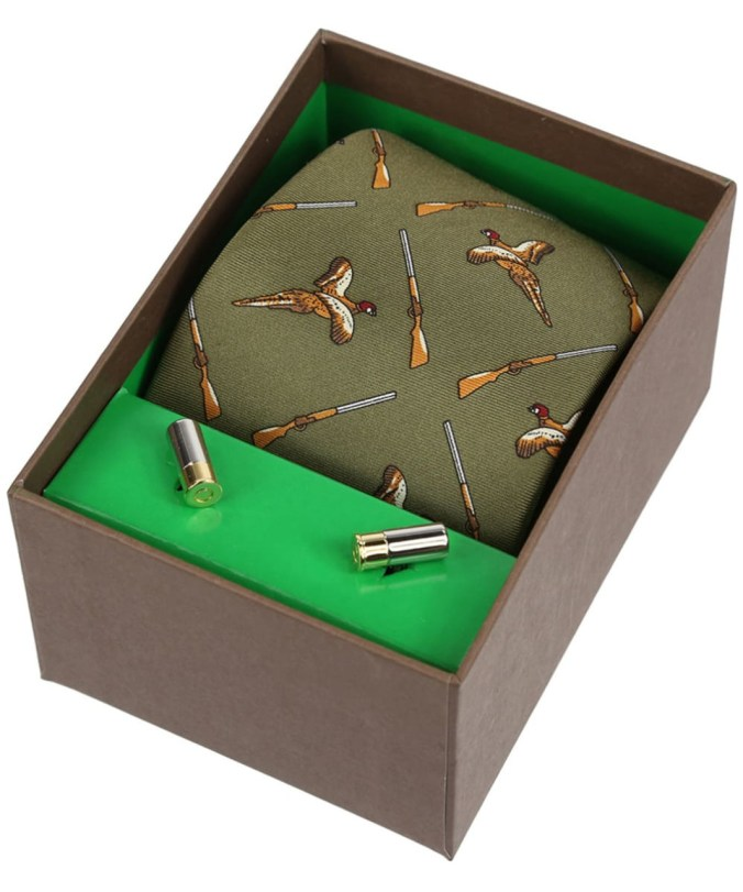 pheasant silk tie and cufflink shooting gift