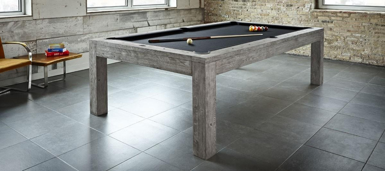 Sanibel Pool Table 8 Foot Rustic Grey Finish Dining Top Available Brunswick Prestige Billiards Gamerooms