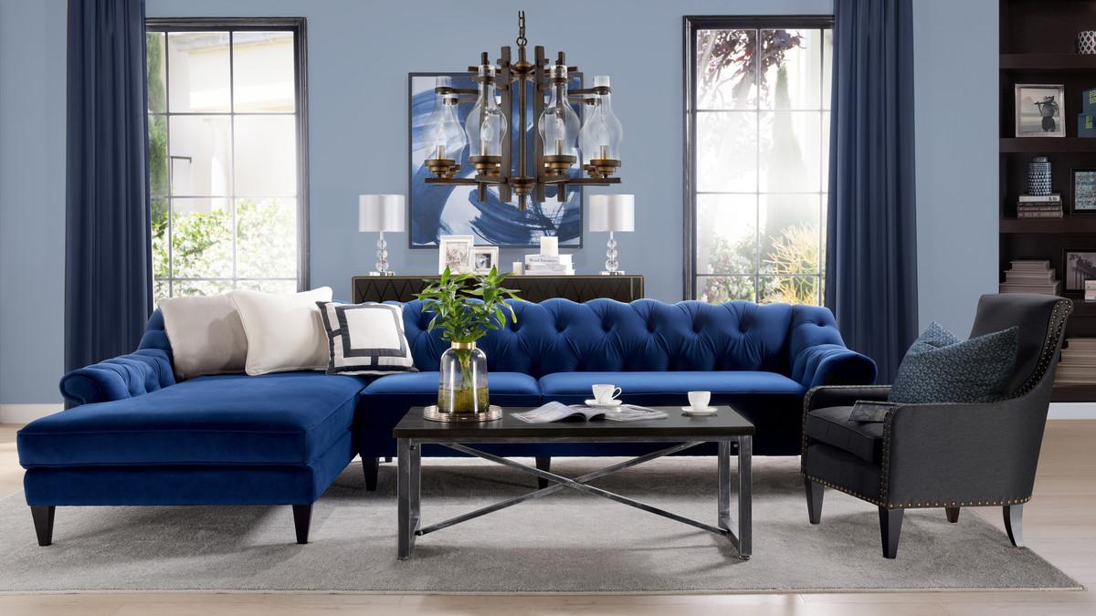 alexandra tufted left sectional sofa navy blue