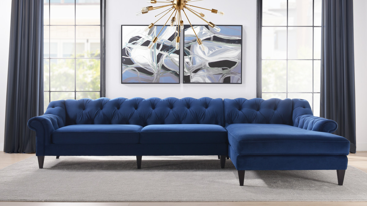 alexandra tufted right sectional sofa navy blue