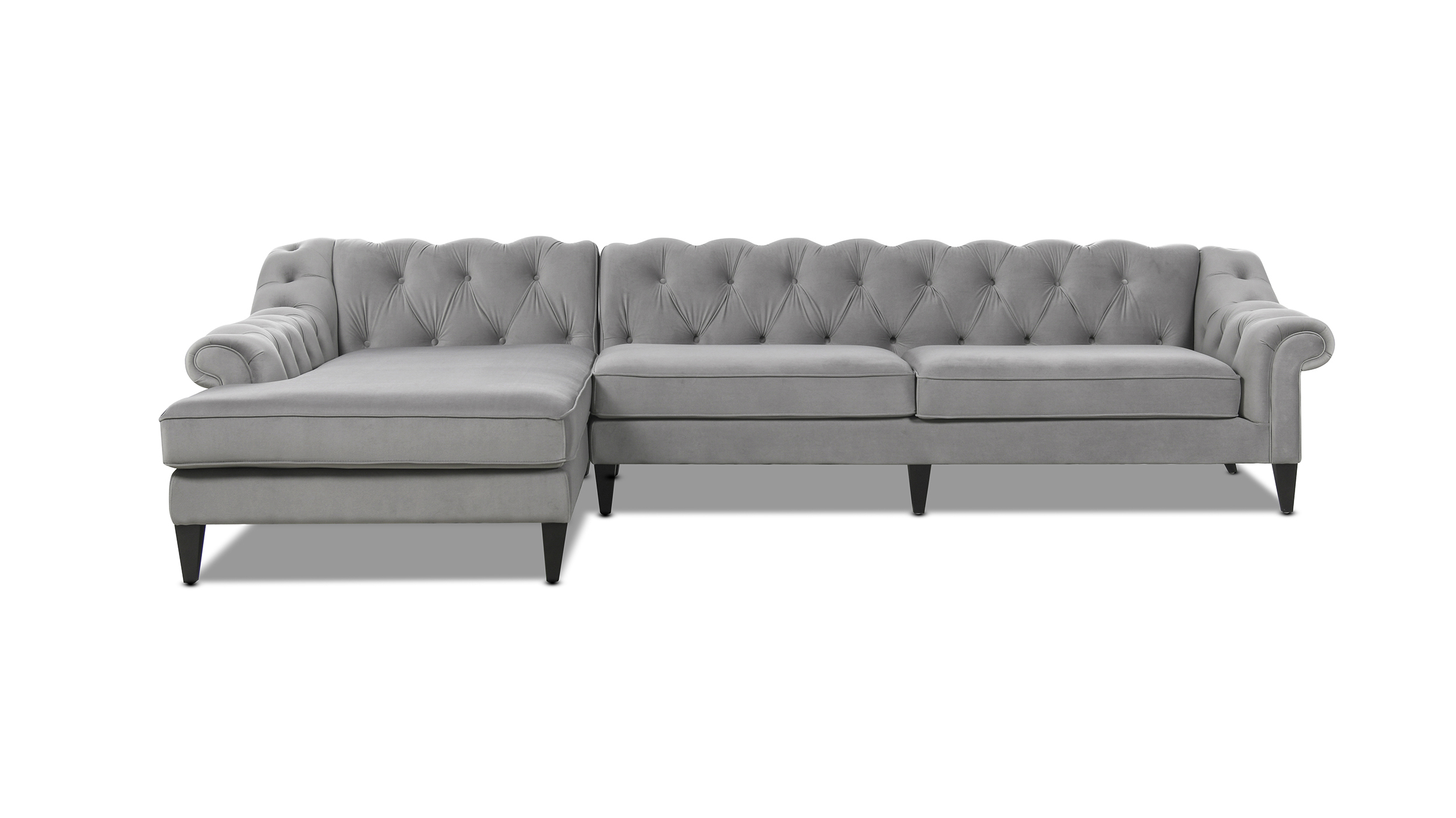 alexandra tufted left sectional sofa opal grey