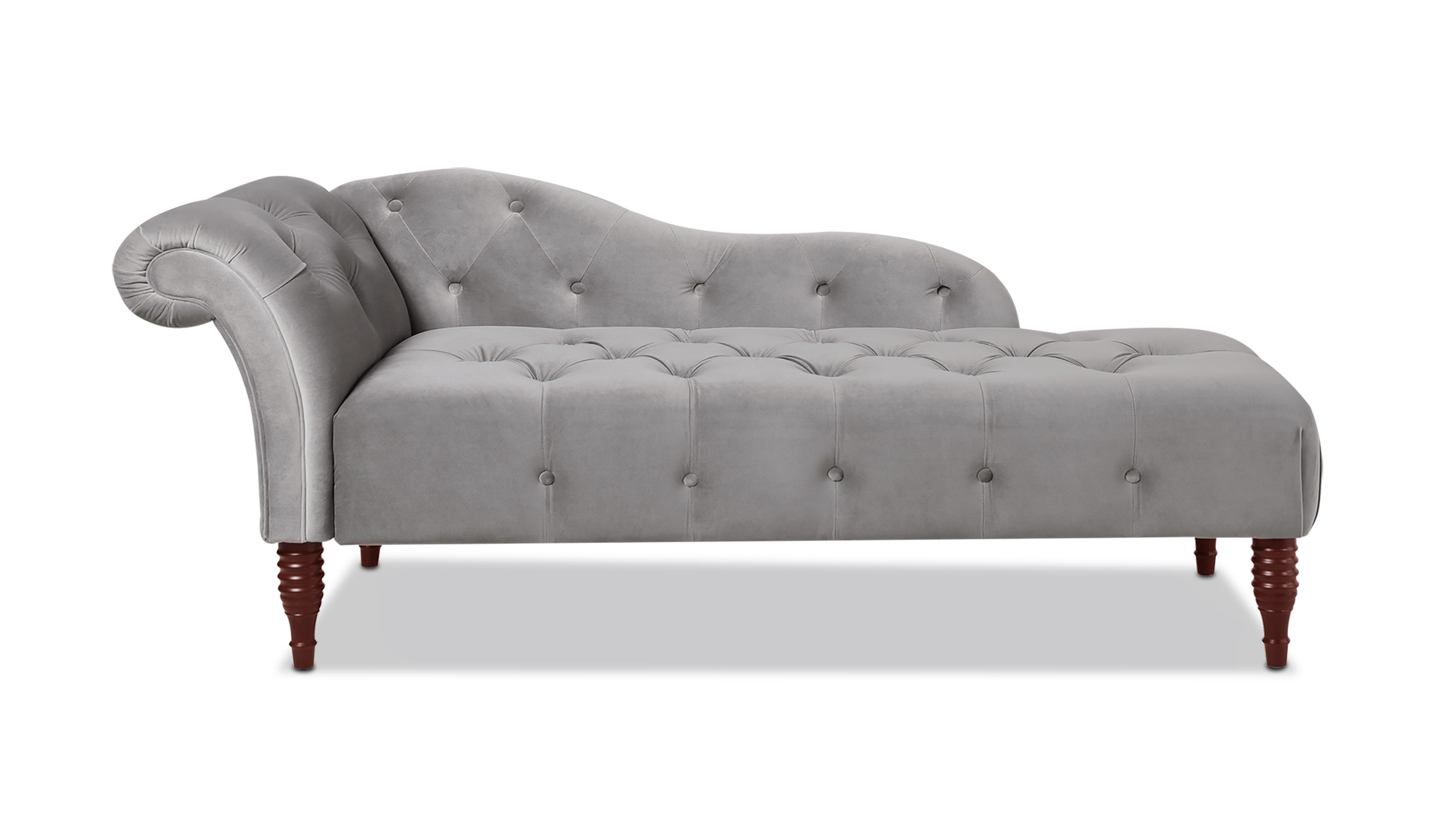 samuel tufted chaise lounge right arm facing opal grey