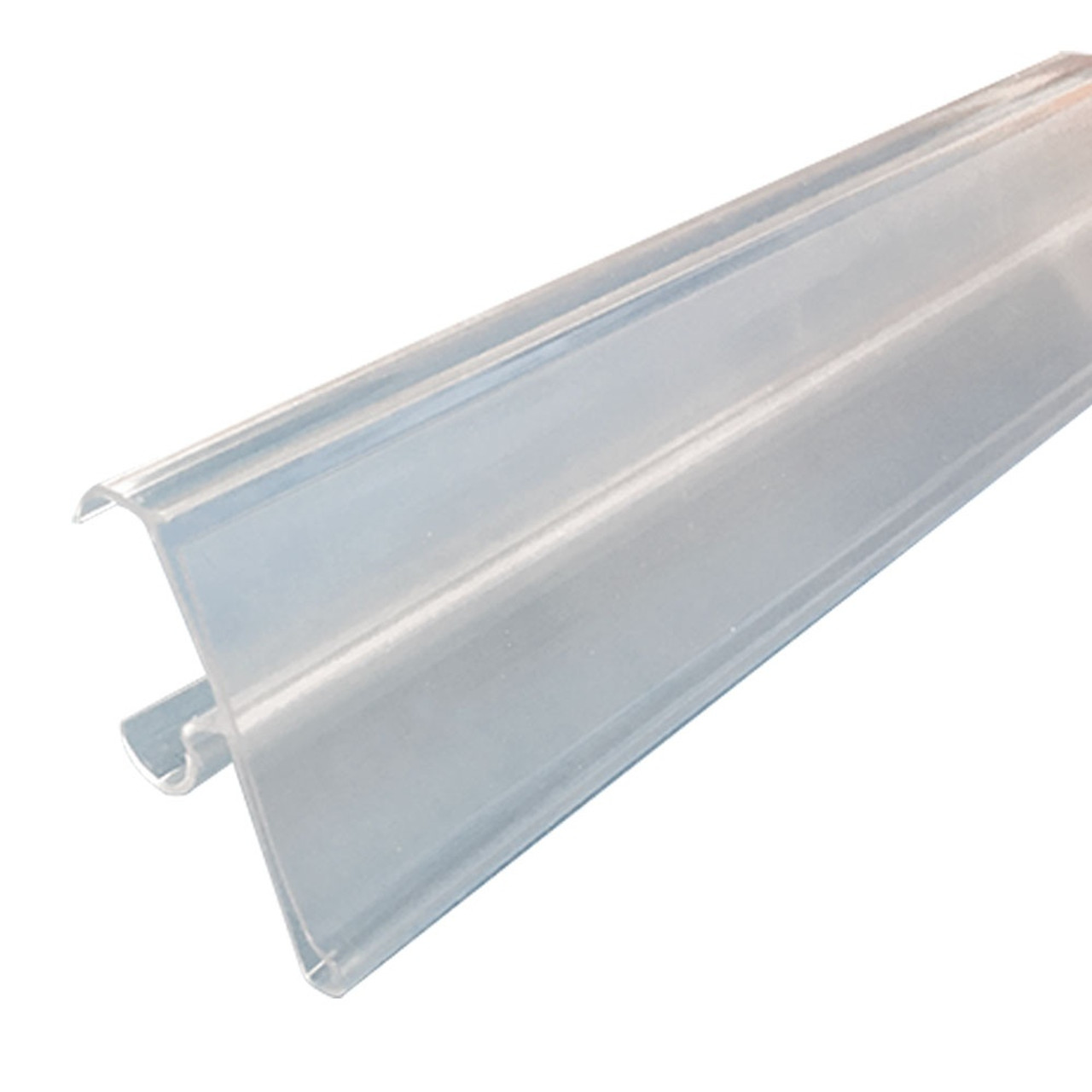 label holder strip w cover 7 8h double wire cooler shelf clear 29 1 2w