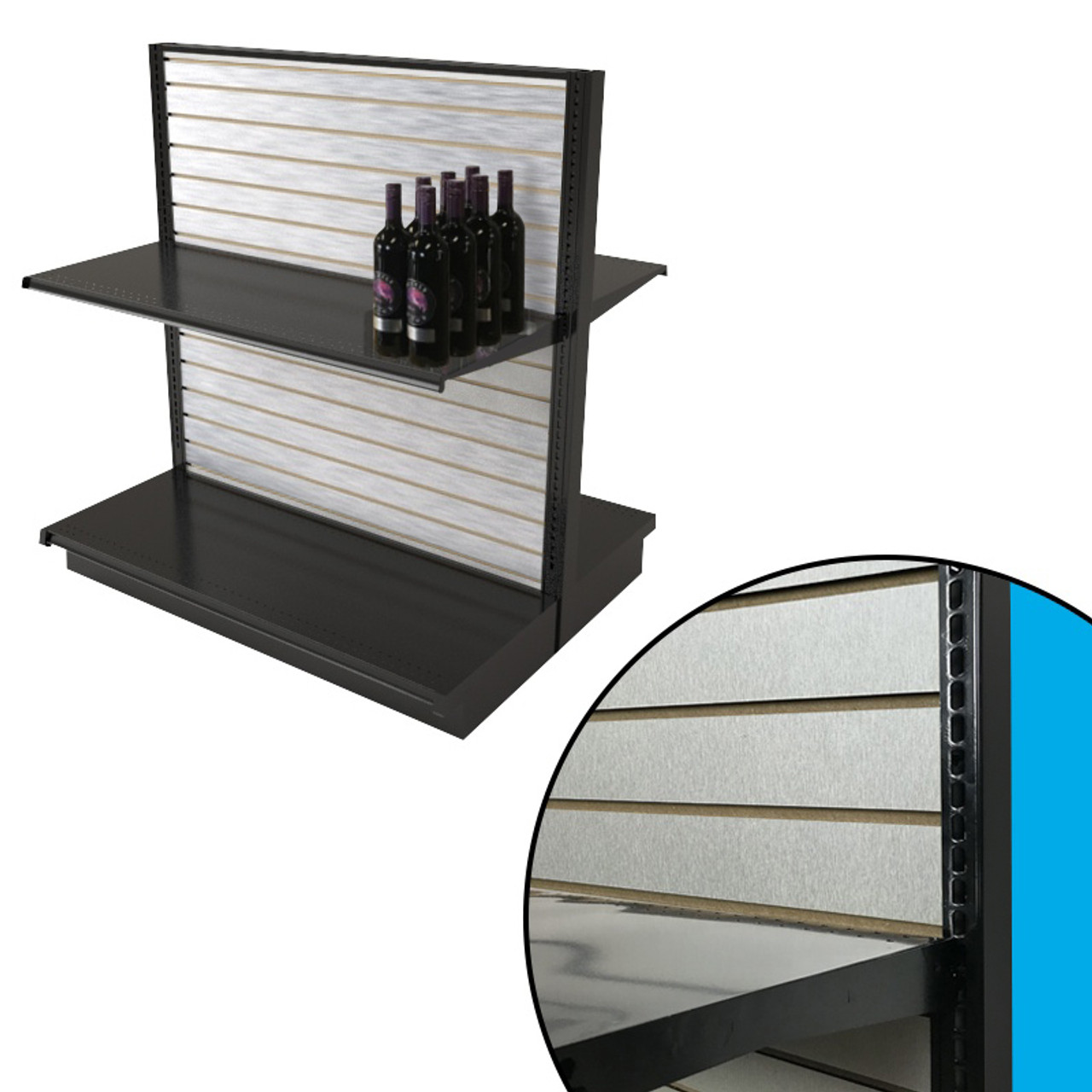 Brushed Aluminum Slatwall Panels In Black Gondola Shelving Aisle 54h