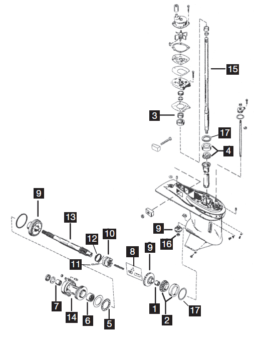 Chrysler/Force 4 Cylinder Lower Unit Parts, 120 HP 1995-99