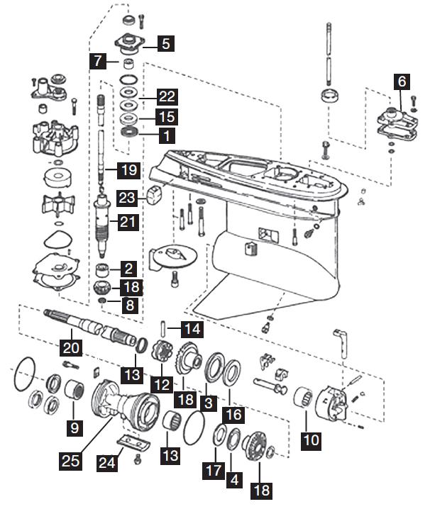 Johnson/Evinrude 3 Cylinder Lower Unit Parts, 75-90 HP