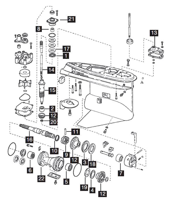 Johnson/Evinrude 4 Cylinder Lower Unit Parts and Rebuild