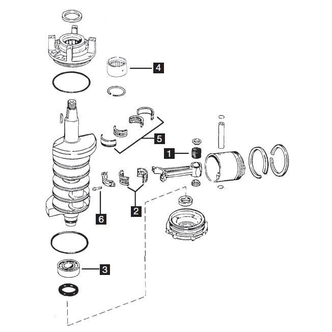 Johnson/Evinrude V4 Crossflow Powerhead Parts, 88-140 HP