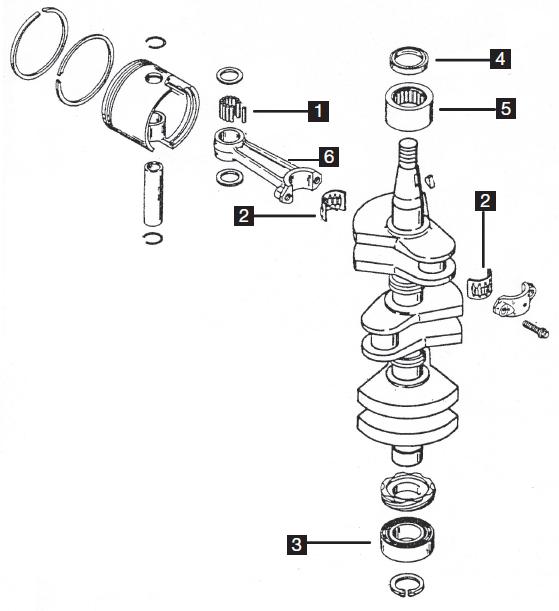 Mercury/Mariner Three Cylinder Powerhead Components 40-50