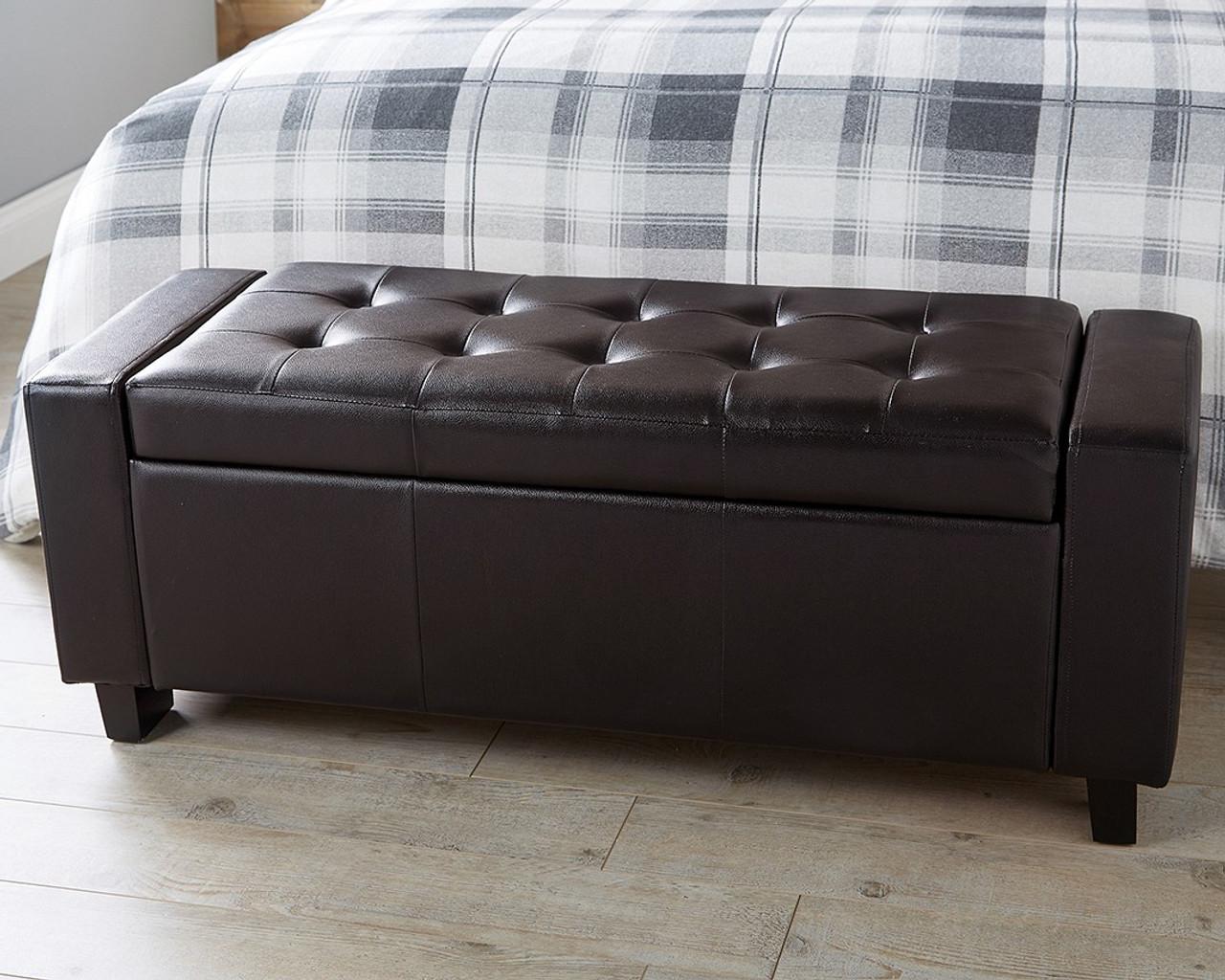 verona brown faux leather ottoman bench