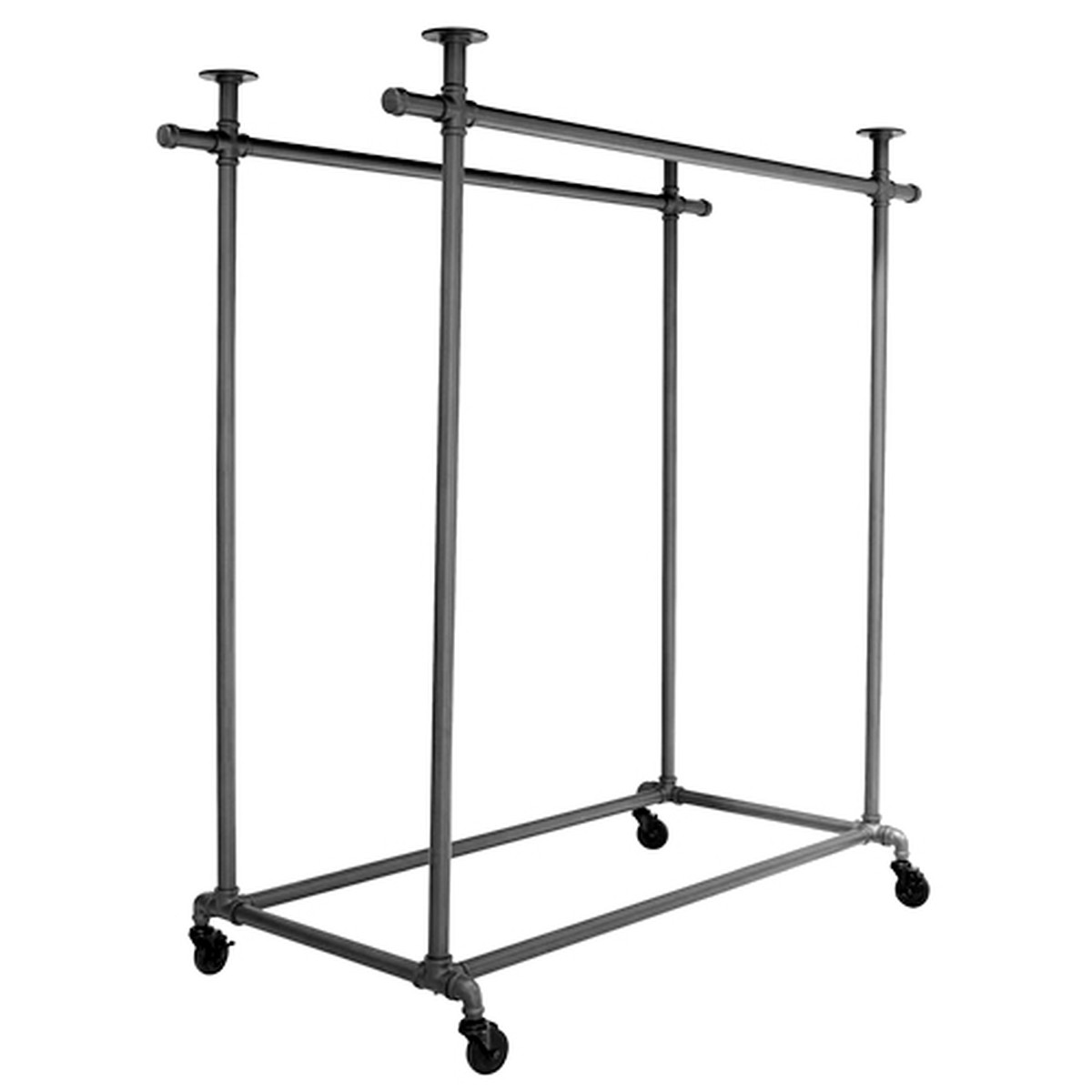 pipeline double rail rolling ballet clothing display rack grey