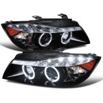 2006 2008 Bmw E90 3 Series Sedan Dual Halo Projector Headlights W Led Light Strip Glossy Black Housing Smoke Lens Spec D Tuning