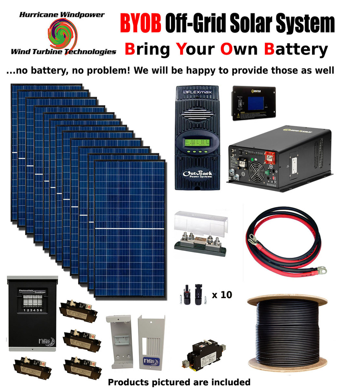 byob off grid 3 4kw 48v solar panel kit tiny house cabin pv system outback fm80 [ 1120 x 1280 Pixel ]