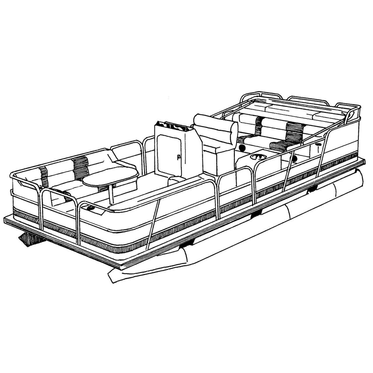 medium resolution of cover fits pontoon with bimini top and rails that fully enclose deck