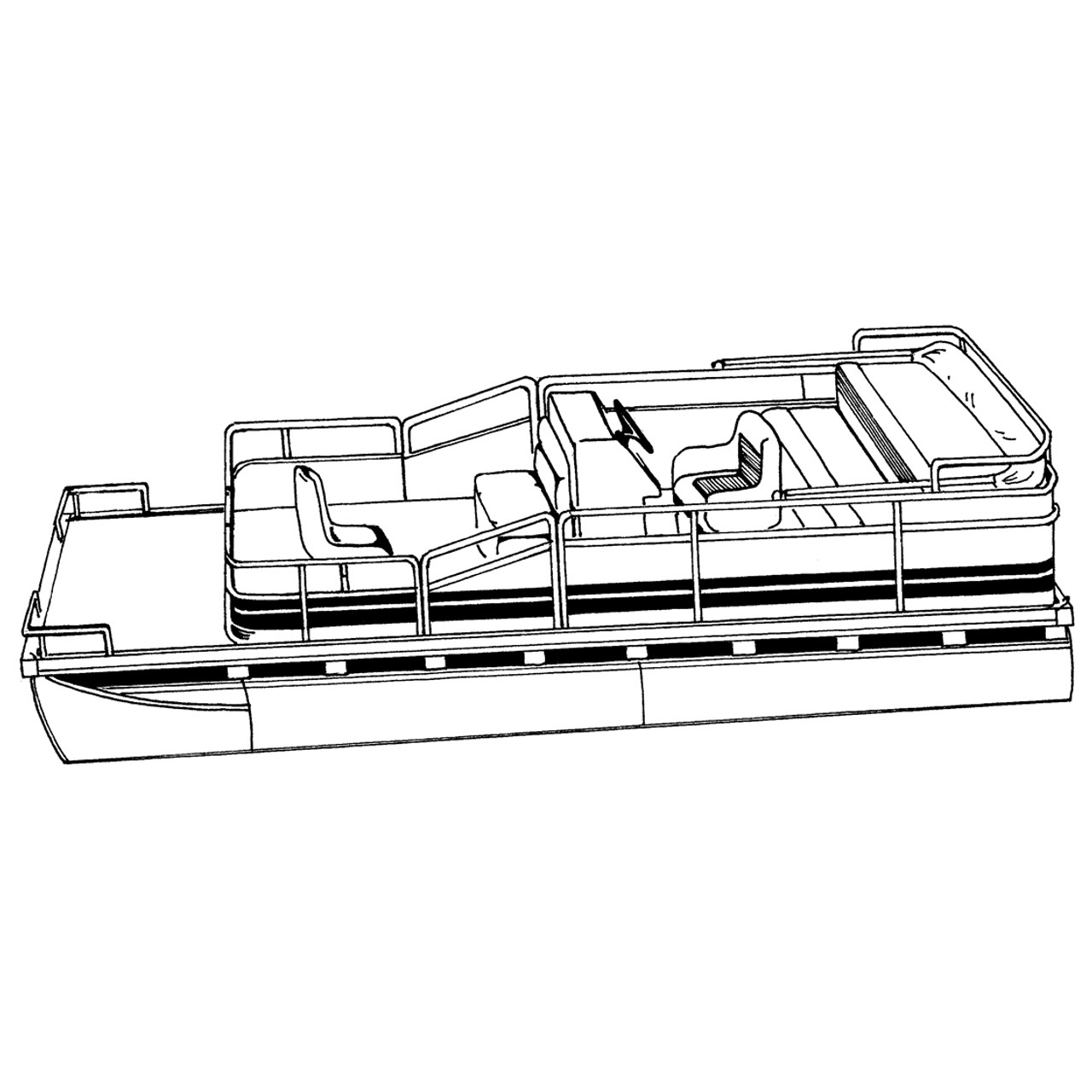 cover fits pontoon with bimini top and rails that partially enclose deck leaving 1  [ 1280 x 1280 Pixel ]