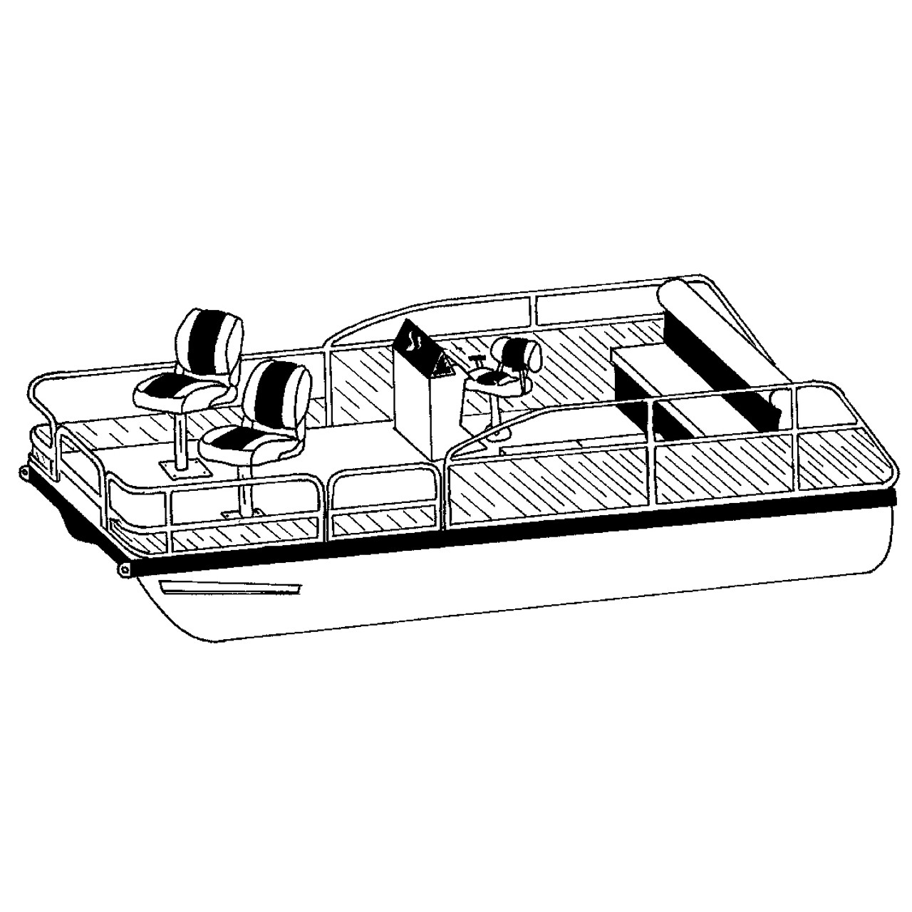 medium resolution of cover fits pontoon with low rails or fishing chairs at aft end of deck