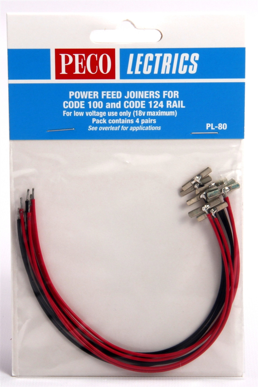 medium resolution of peco ho pl80 code 100 and 124 power feed joiners 4 pairs modeltrainstuff com