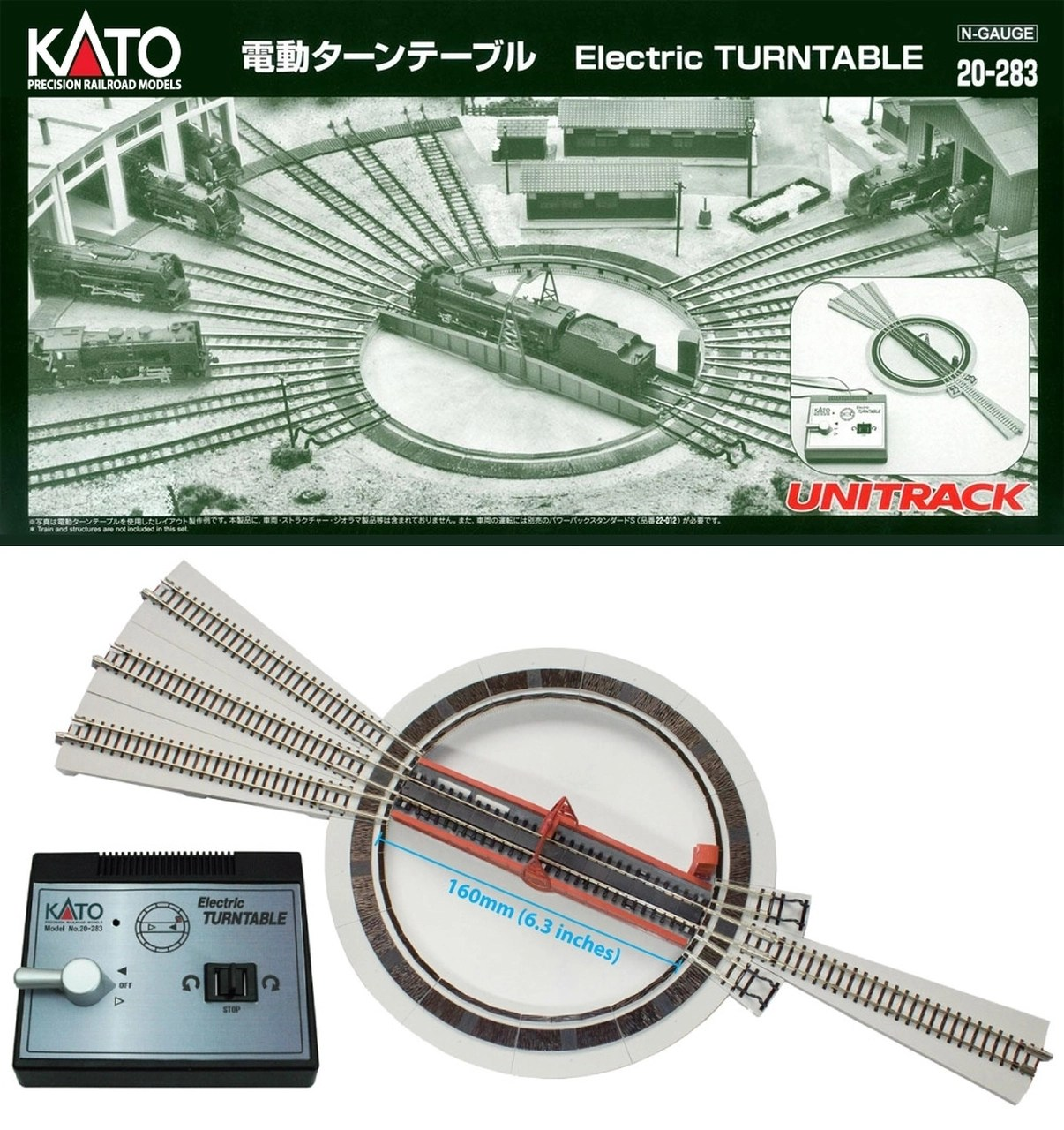 small resolution of kato n 20 283 motorized turntable dcc friendly modeltrainstuff comkato n 20283 motorized turntable
