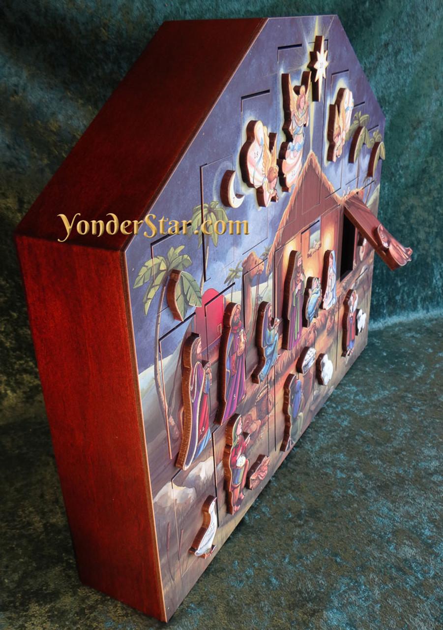 Wooden Nativity Advent Calendar - Yonder Star Christmas