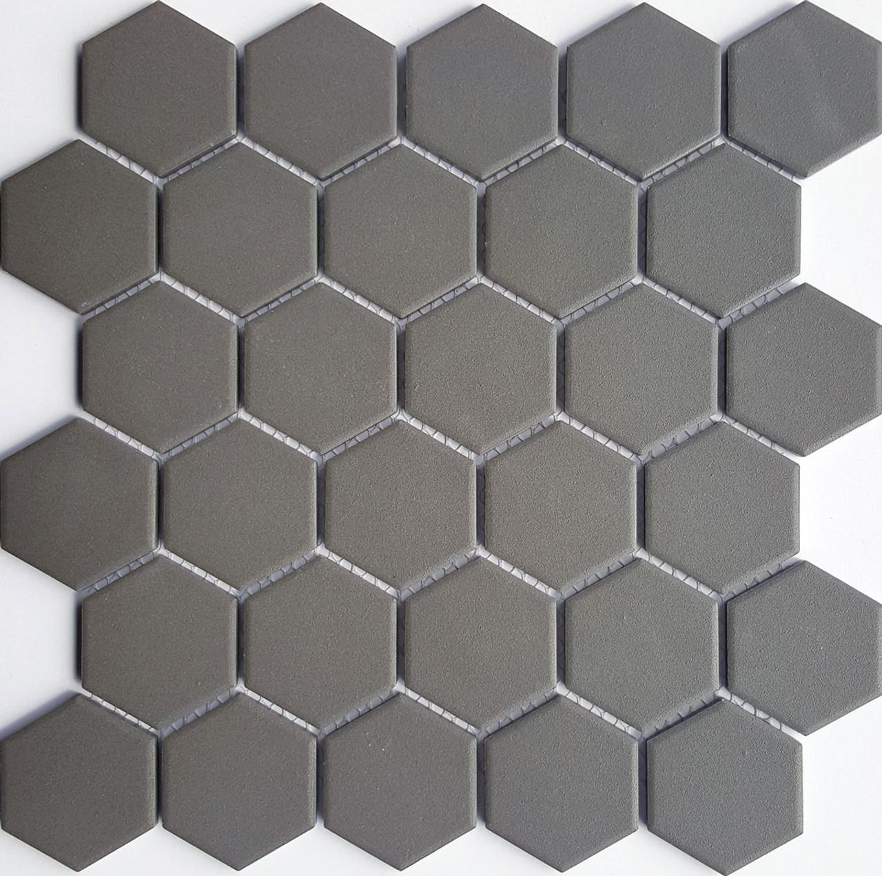 d grey matt hexagon mos 50mm tile space