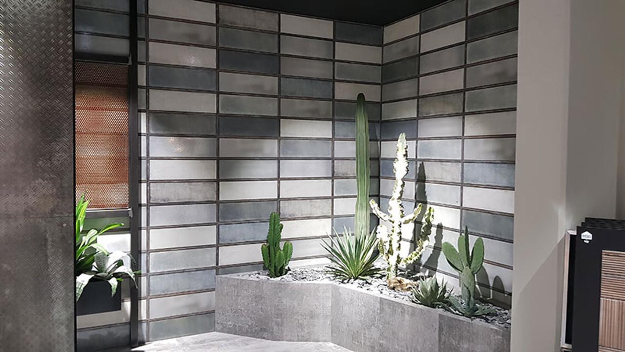 industrial steel glass 20x60 tile space