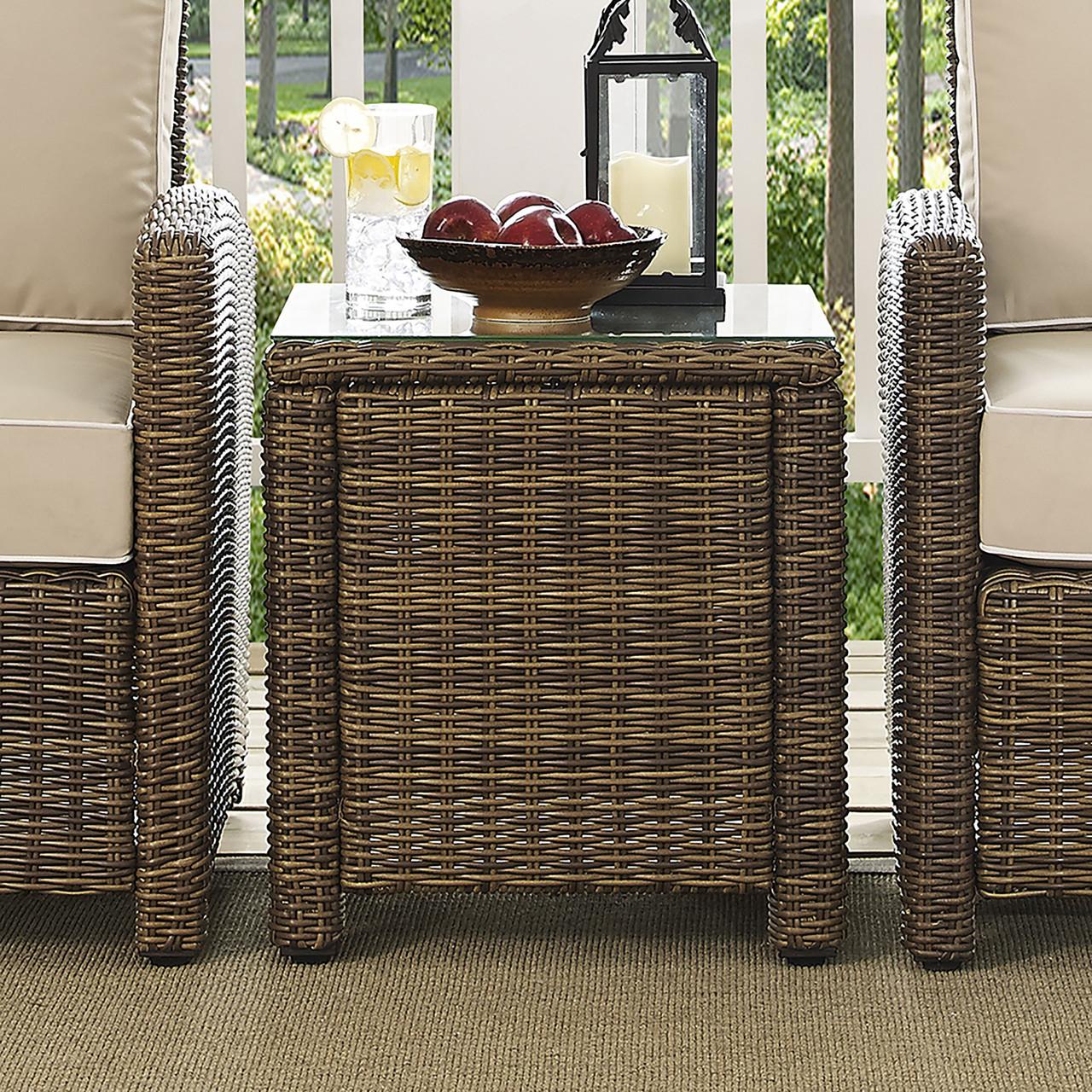 crosley bradenton outdoor wicker rectangular side table co7219 wb