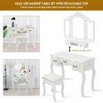 Tri Folding Vintage Vanity Makeup Dressing Table Set 5 Drawers Christmas Black White Hw59433wh By Cw