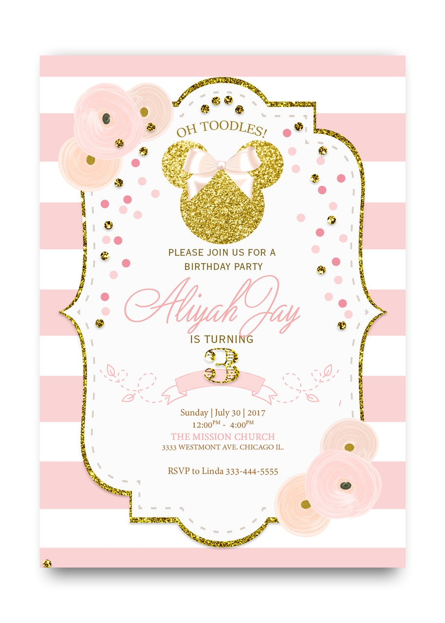 Glitter Minnie Mouse Birthday Invitation