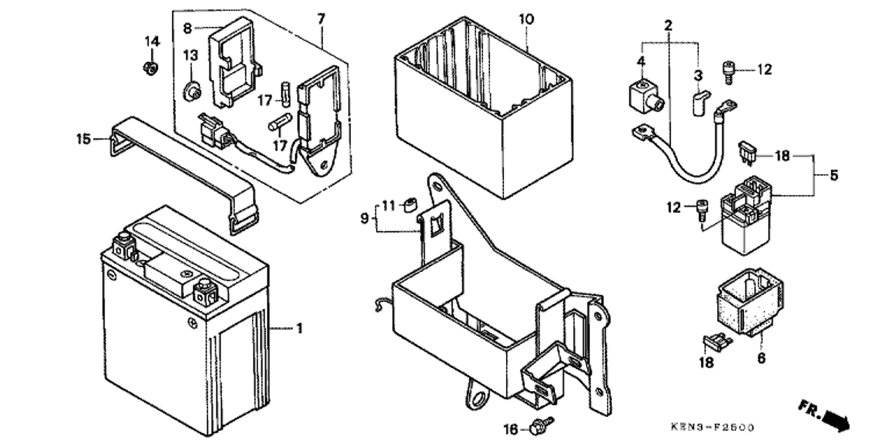 hight resolution of genuine honda rebel 2001 fuse box assembly part 7 38200kr3871 honda rebel 500 fuse box location