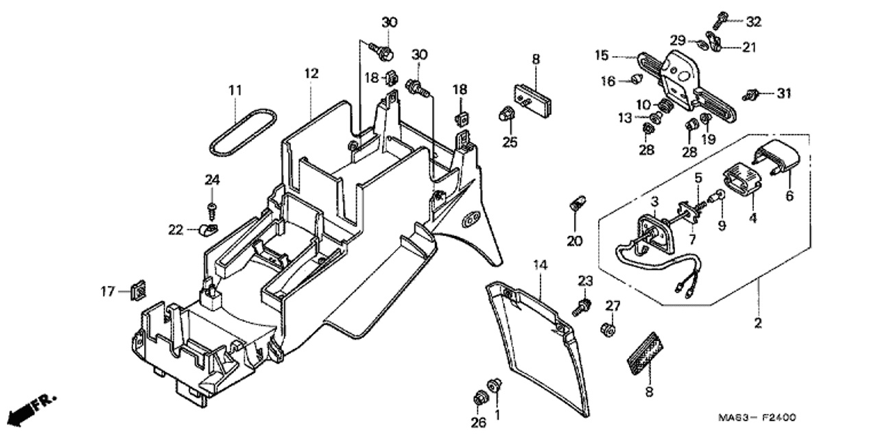 honda fire diagram wiring diagram used genuine honda fire blade 1998 rear fender part 12 80100mas600 [ 1280 x 640 Pixel ]