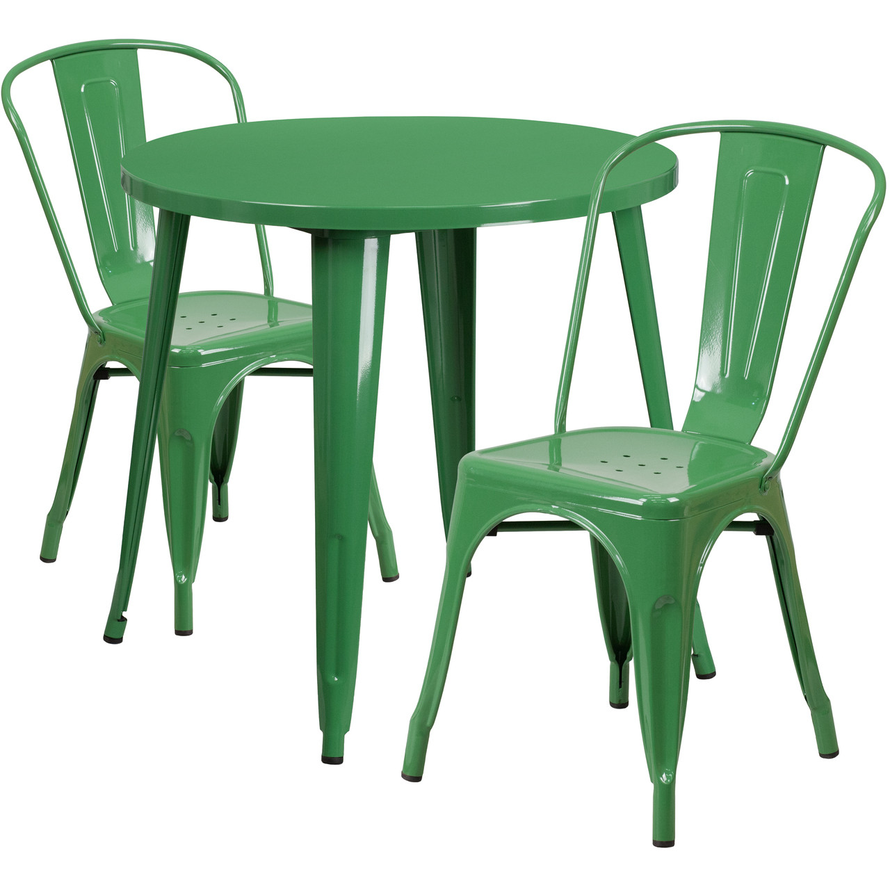 flash furniture 30 round green metal indoor outdoor table set with 2 cafe chairs
