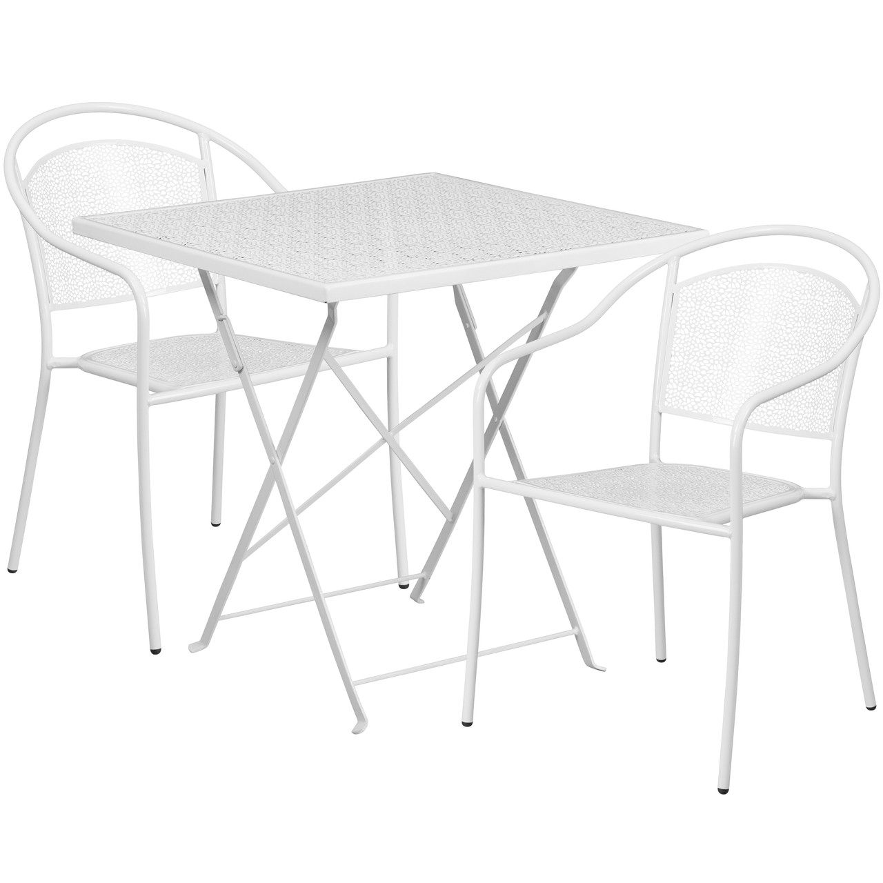 flash furniture 28 square white indoor outdoor steel folding patio table set with 2 round back chairs