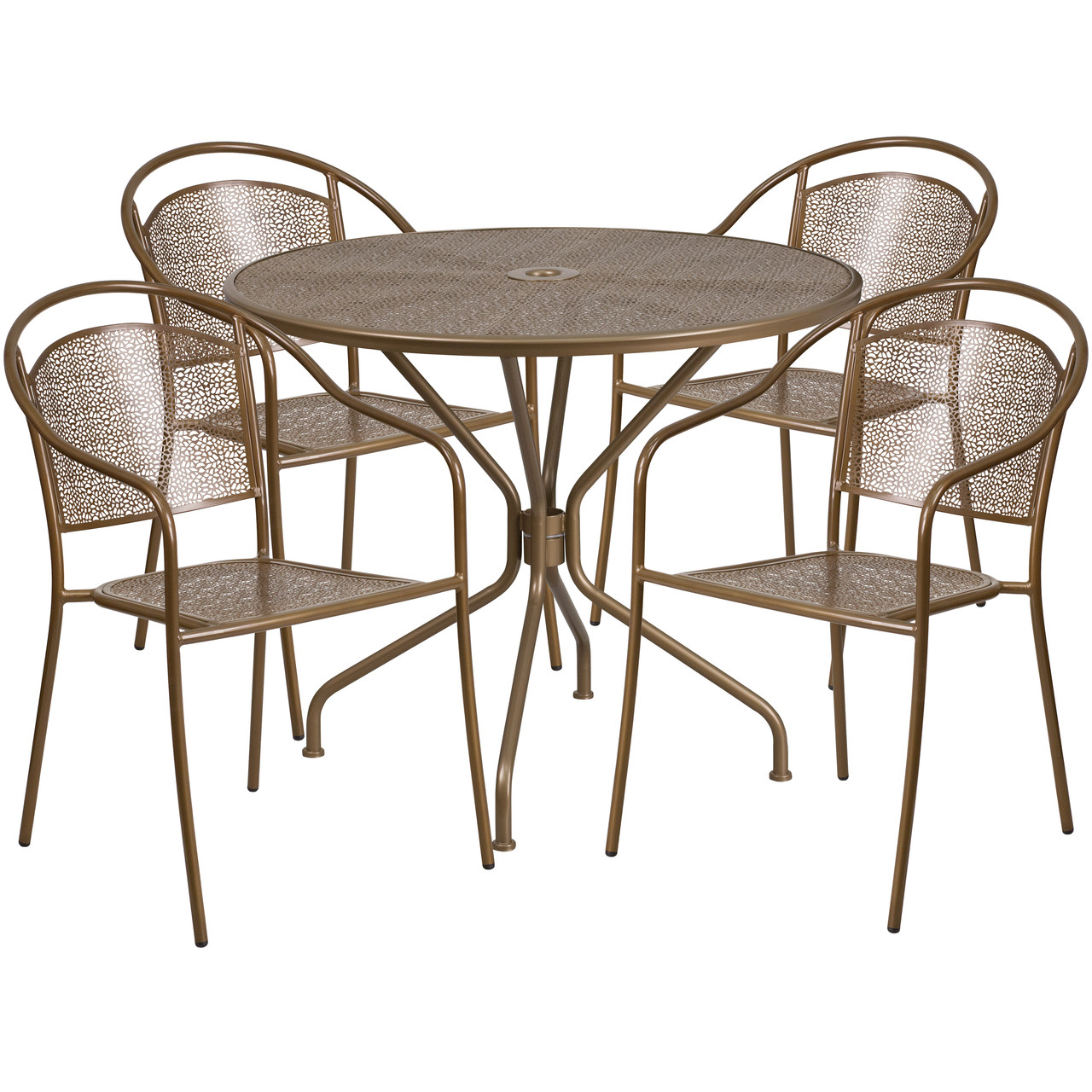 flash furniture 35 25 round gold indoor outdoor steel patio table set with 4 round back chairs