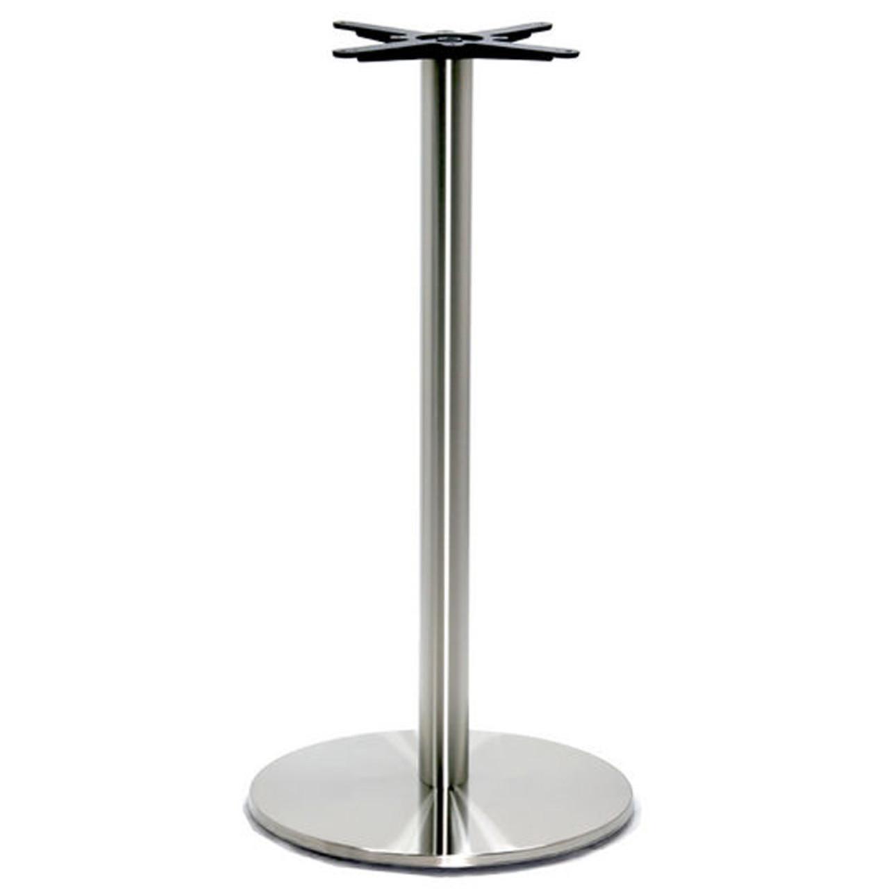 Round Pedestal Table Base Brushed Stainless Steel 40 3 8 Bar Height 17 Round Base 3 Diameter Steel Column Single Replacementtablelegs Com