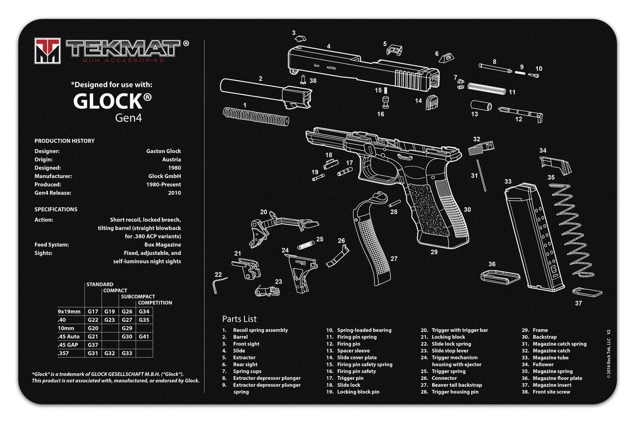 medium resolution of glock generation 4 tekmat gun cleaning mat features