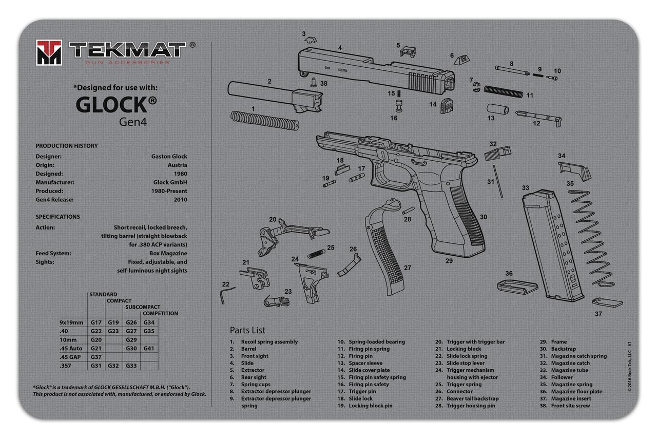 glock generation 4 tekmat gun cleaning mat features [ 1280 x 853 Pixel ]