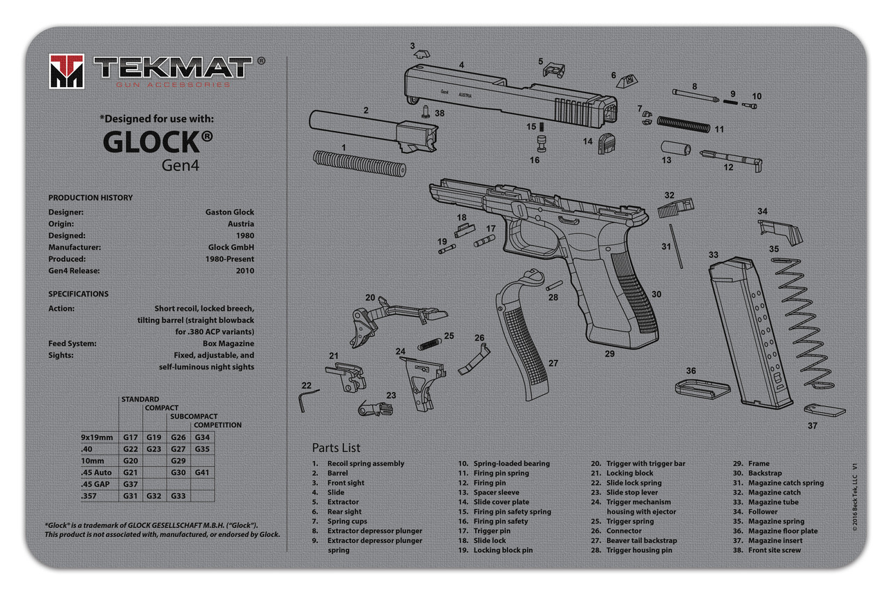 hight resolution of glock generation 4 tekmat gun cleaning mat features