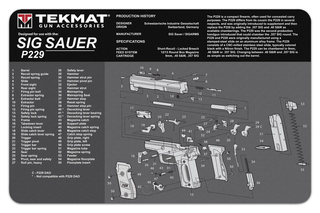 hight resolution of sig sauer p229 tekmat gun cleaning mat features