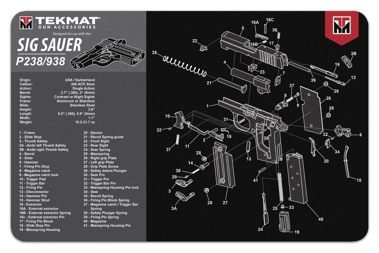 hight resolution of sig sauer p238 938 tekmat gun cleaning mat features