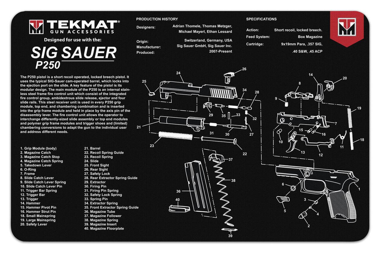 small resolution of sig sauer p250 tekmat gun cleaning mat features