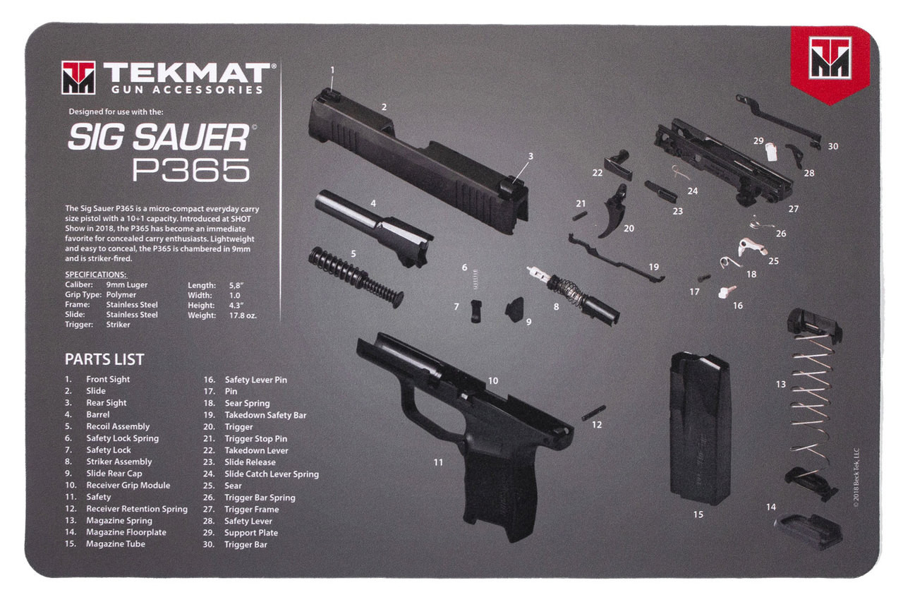 hight resolution of sig sauer p365 tekmat gun cleaning mat features